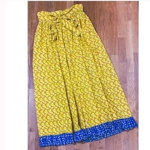 VINTAGE Yellow and Blue Floral Calico Apron Skirt